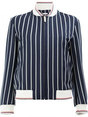 Полосатая куртка-бомбер Thom Browne. Цвет: синий