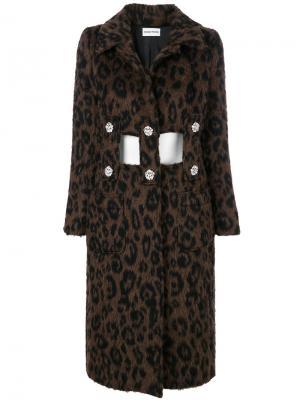 Пальто с декоративными вырезами Au Jour Le. Цвет: коричневый