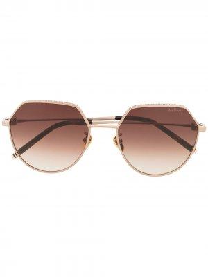 Солнцезащитные очки Jamie в металлической оправе Mulberry. Цвет: коричневый