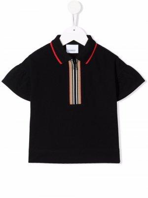 Рубашка поло с отделкой Icon Stripe Burberry Kids. Цвет: черный