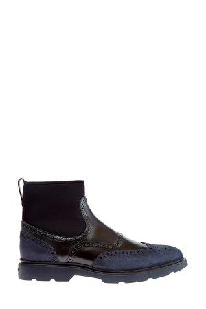 Высокие ботинки с брогированной отделкой и замшевыми вставками HOGAN. Цвет: мульти