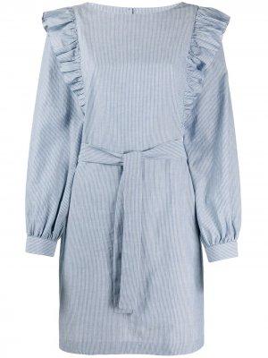 Платье в полоску с оборками A.P.C.. Цвет: синий