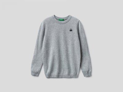 Джемпер из 100% хлопка Benetton. Цвет: серый