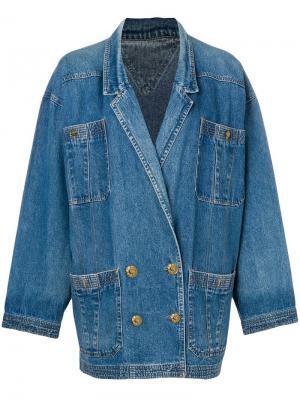 Джинсовая куртка 1980-х годов в стиле оверсайз Fendi Vintage. Цвет: синий