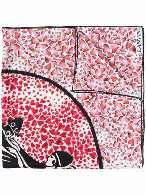Шелковый платок с принтом LANVIN. Цвет: розовый