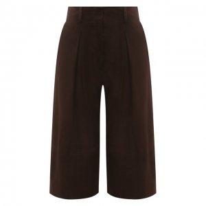 Замшевые шорты DROMe. Цвет: коричневый