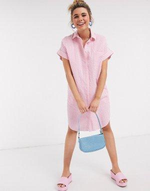 Платье-рубашка из органического хлопка в розовую клеточку -Розовый Monki