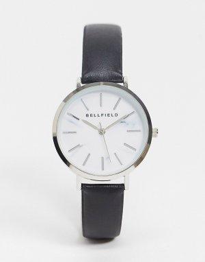 Часы с ремешком из искусственной кожи и серебристым циферблатом -Черный цвет Bellfield