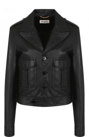 Однотонная кожаная куртка с накладными карманами Saint Laurent. Цвет: черный