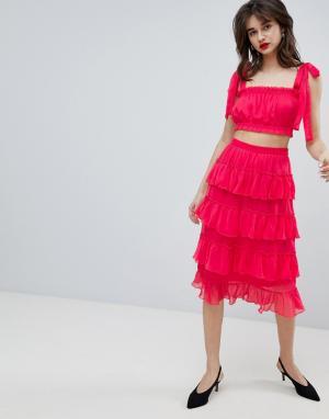 Шифоновая юбка миди с оборками -Розовый Vero Moda