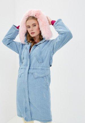 Куртка джинсовая Mallanee. Цвет: голубой