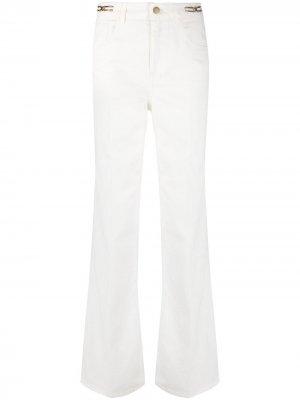 Прямые джинсы с цепочками Les Copains. Цвет: белый