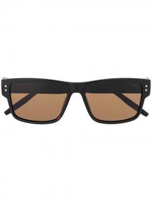 Солнцезащитные очки в квадратной оправе черепаховой расцветки Puma. Цвет: черный