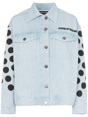 Джинсовая куртка в горох с логотипом House of Holland. Цвет: синий