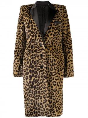 Шуба из искусственного меха с леопардовым принтом Paco Rabanne. Цвет: коричневый