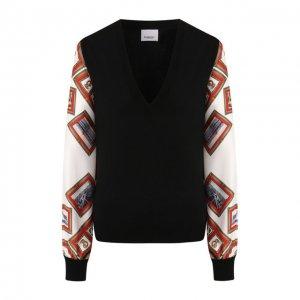 Пуловер из смеси шерсти и шелка Burberry. Цвет: чёрный