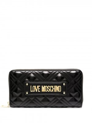 Стеганый кошелек Love Moschino. Цвет: черный