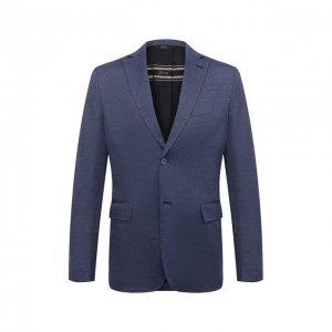 Пиджак изо льна и кашемира Brioni. Цвет: синий