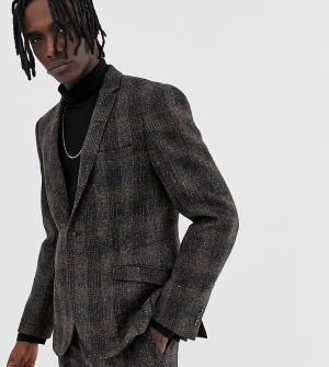 Коричневый приталенный пиджак из твида Харрис Heart & Dagger