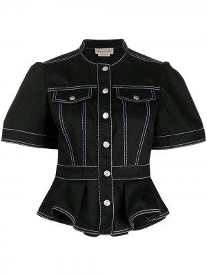 Расклешенная джинсовая куртка Alexander McQueen. Цвет: черный