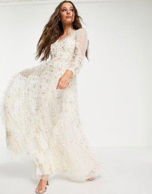 Свадебное платье макси цвета слоновой кости с цветочной вышивкой Frieda Ditsy-Белый Needle & Thread
