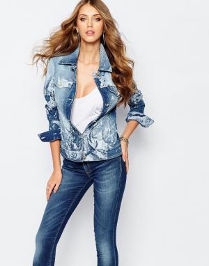 Джинсовая куртка с цветочным принтом Jeans Versace. Цвет: синий