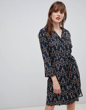Платье-рубашка с геометрическим принтом и поясом -Темно-синий Darling