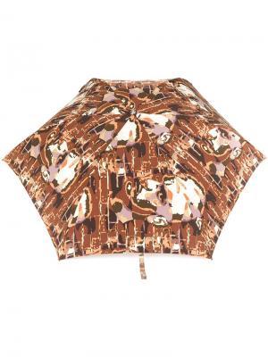 Зонт с принтом лиц Jean Paul Gaultier Pre-Owned. Цвет: коричневый