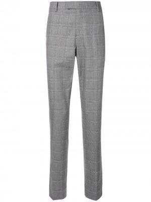 Костюмные брюки в клетку CK Calvin Klein. Цвет: серый