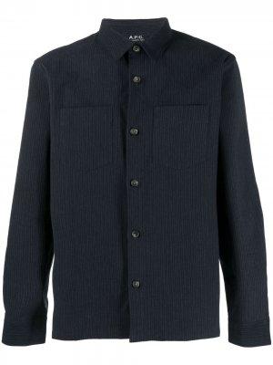 Полосатая рубашка с заостренным воротником A.P.C.. Цвет: синий
