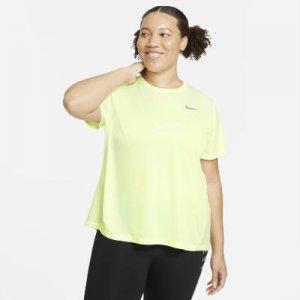 Женская беговая футболка с коротким рукавом Miler (большие размеры) - Желтый Nike