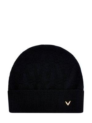 Шапка из шерсти и кашемира с литой символикой VALENTINO GARAVANI. Цвет: черный