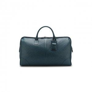 Кожаная дорожная сумка с плетением intrecciato Bottega Veneta. Цвет: синий