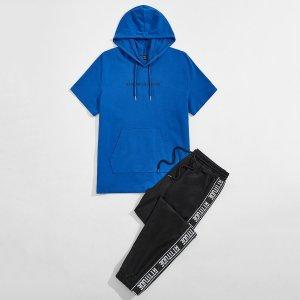 Мужской с текстовым принтом Толстовка & текстовая лента Спортивные брюки SHEIN. Цвет: многоцветный