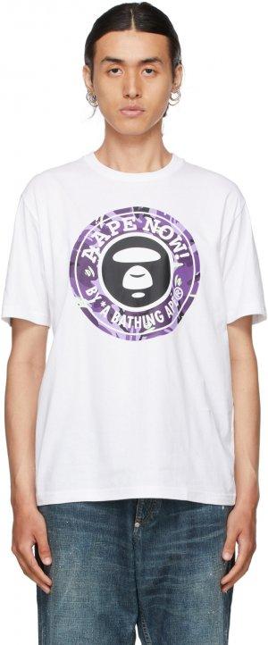 White & Purple Logo T-Shirt AAPE by A Bathing Ape. Цвет: whx white
