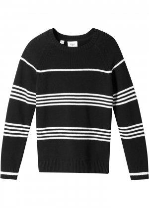 Пуловер в полоску для мальчика bonprix. Цвет: черный