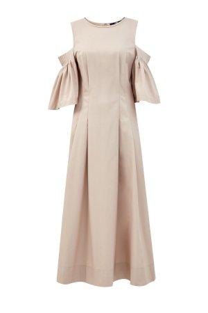 Платье из хлопкового поплина с объемными рукавами KARL LAGERFELD. Цвет: бежевый