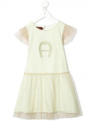 Платье с тюлем и блестками Aigner Kids. Цвет: золотистый