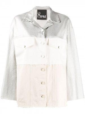 Куртка оверсайз в стиле колор-блок 8pm. Цвет: белый