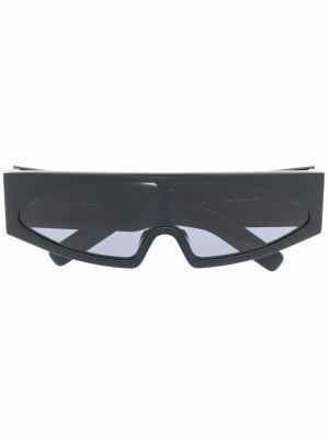 Солнцезащитные очки Gene в прямоугольной оправе Rick Owens. Цвет: черный