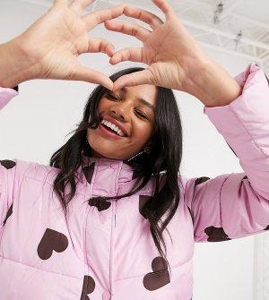 Удлиненный пуховик с принтом сердечек Wednesdays Girl-Фиолетовый Wednesday's Girl