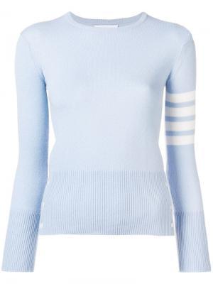 Кашемировый пуловер с 4 полосками на рукаве Thom Browne