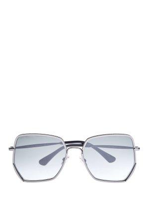 Очки Aline с металлической оправой и мерцающим напылением JIMMY CHOO (sunglasses). Цвет: серый