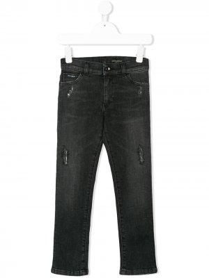 Distressed slim fit jeans Dolce & Gabbana Kids. Цвет: серый