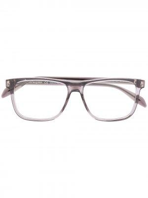 Очки в прямоугольной оправе Alexander McQueen Eyewear. Цвет: серый