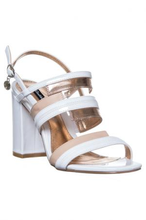 High heels sandals GianMarco Venturi. Цвет: white and beige