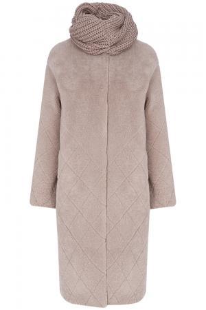 Шуба из овчины с трикотажным шарфом Virtuale Fur Collection