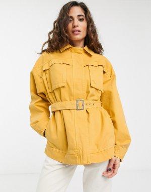 Желтая джинсовая куртка в стиле милитари -Черный цвет ASOS DESIGN