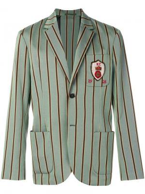 Пиджак в тонкую полоску Kent & Curwen. Цвет: зеленый