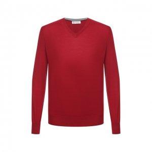 Пуловер из шерсти и кашемира Brunello Cucinelli. Цвет: красный